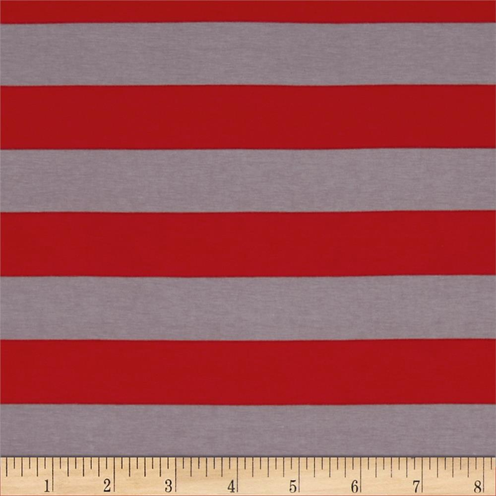 "Riley Blake Jersey Knit 1"" Stripes Red/Grey"