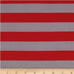 "Riley Blake Jersey Knit 1"" Stripes Red/Gray"