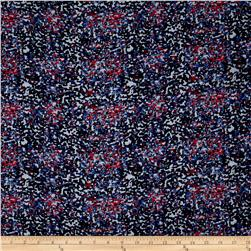 Rayon Challis Abstract Dots Red/Blue