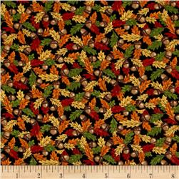Moda Forest Fancy Acorns & Leaves Midnight Black