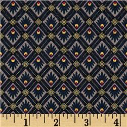Peaceful Plumes Geometric Navy