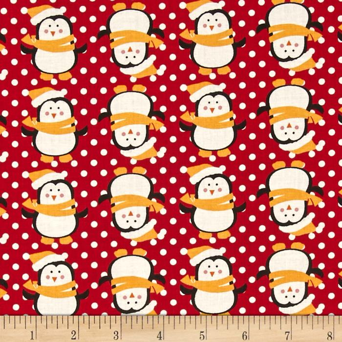 Fabric Freedom Christmas Character Penguins & Dots Red