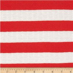 Pointelle Rib Knit Stripes Red/White