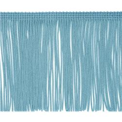 4'' Chainette Fringe Trim Light Blue Fabric