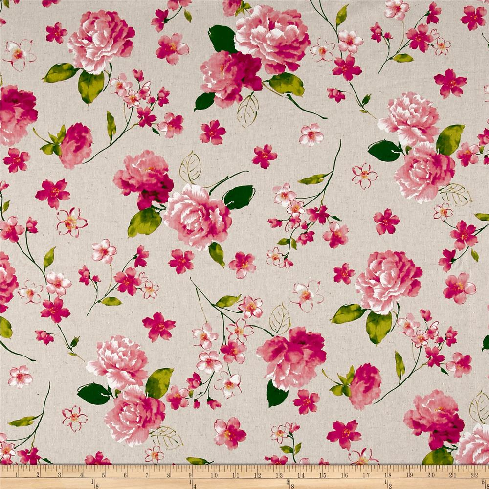 Cosmo Spring Blooms Cotton Linen Blend Natural Fabric