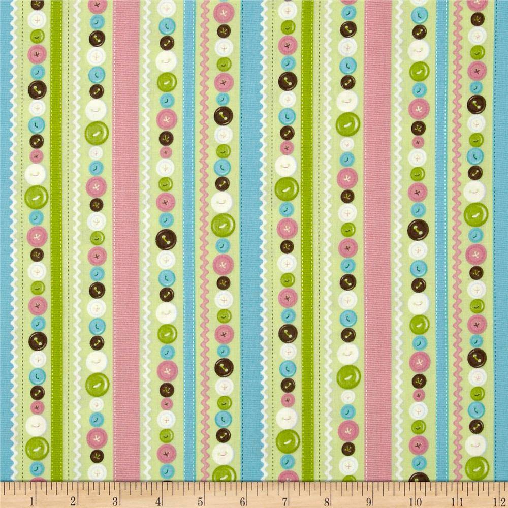 Stitched Garden Button Stripe Green