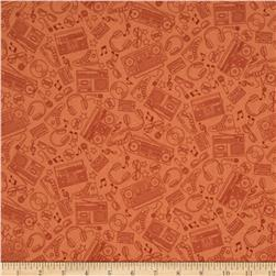 Music Notes Beat Bop Orange Fabric