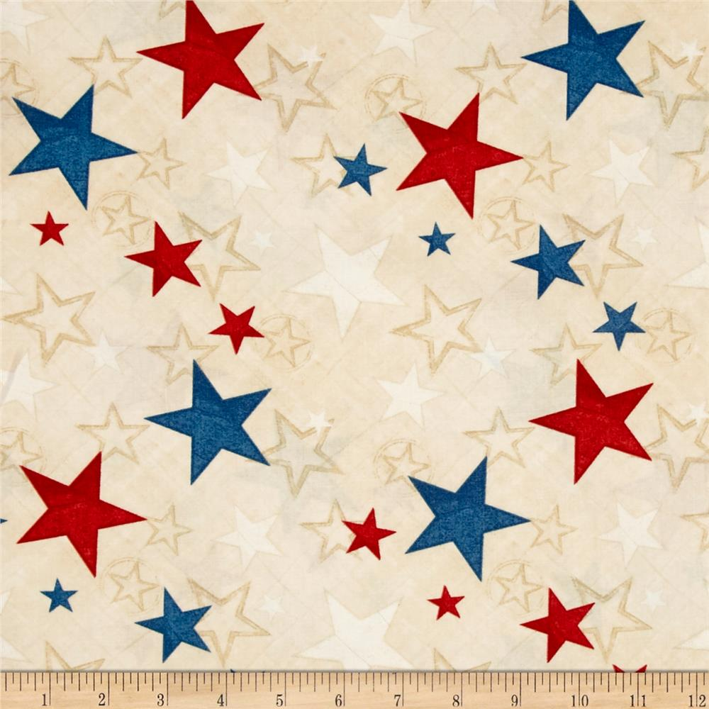 Colors Of Freedom Stars All Over Ivory