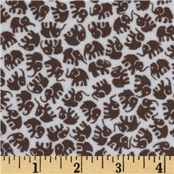 Michael Miller Little Elephants Flannel Dirt Brown