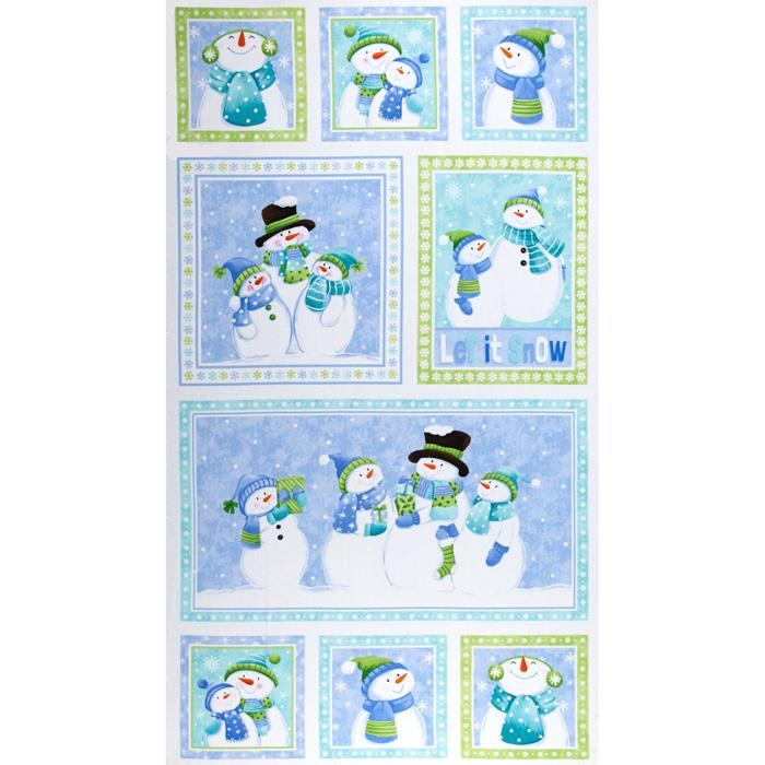 Let it Snow Flannel 24 In. Snowman Blocks Panel Multi Fabric By The Yard