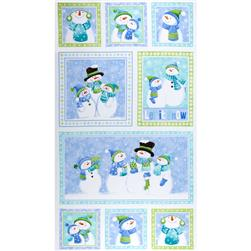 Let it Snow Flannel 24 In. Snowman Blocks Panel Multi