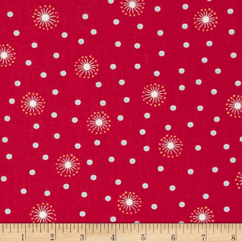 Wallflowers Dandelion Dots Red Fabric