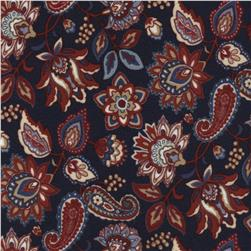 Americana Flannel Jacobean Floral Navy