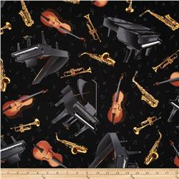 Timeless Treasures Music Instruments Black