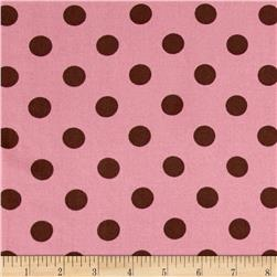 Challis Twill Print Polka Dots Brown/Dusty Rose