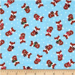 Timeless Treasures Jingle All the Way Flannel Foxes Sky