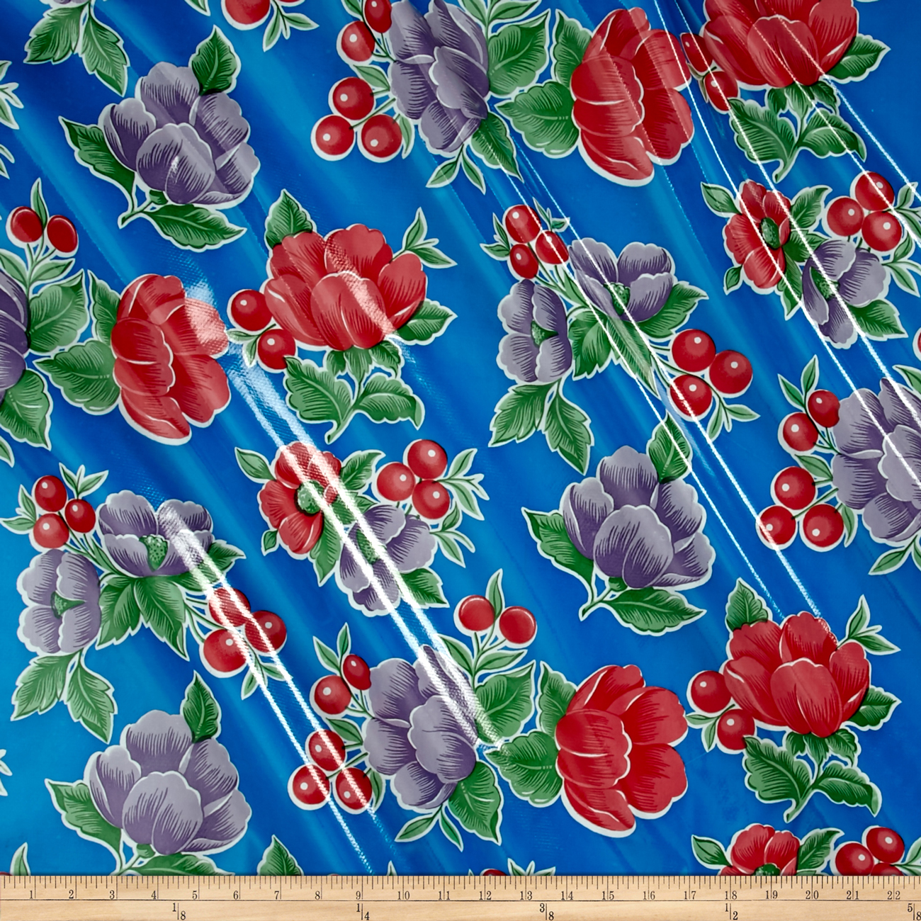 Oilcloth Poppy Blue Fabric by Oilcloth International in USA