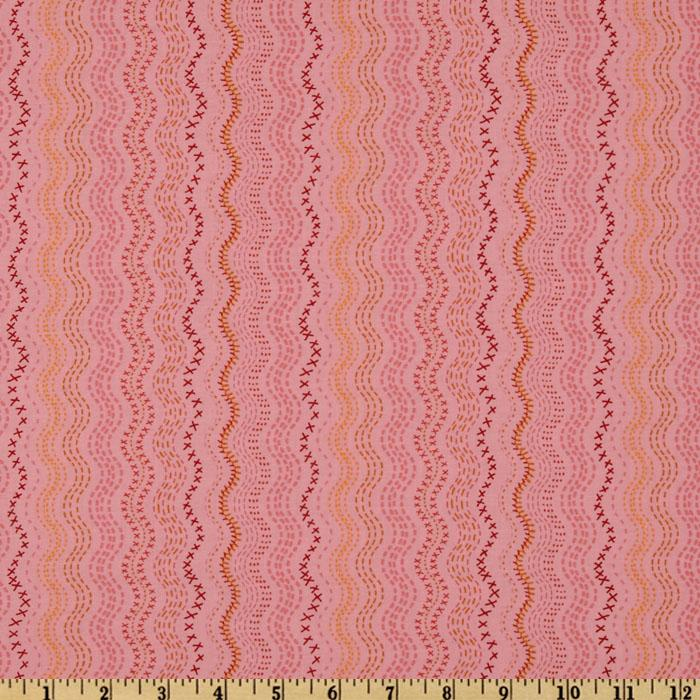 Moda The Ladies Stitching Club Embriodered Tales Stripe Tea Cakes Pink