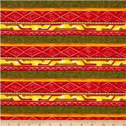 Lone Prairie Stripes Red/Green Fabric