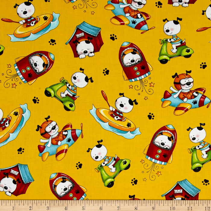 Spots Perfect Day Tossed Dogs Yellow Fabric by Henry Glass in USA
