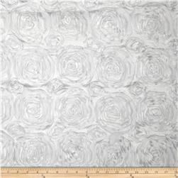 Rosette Satin White Fabric