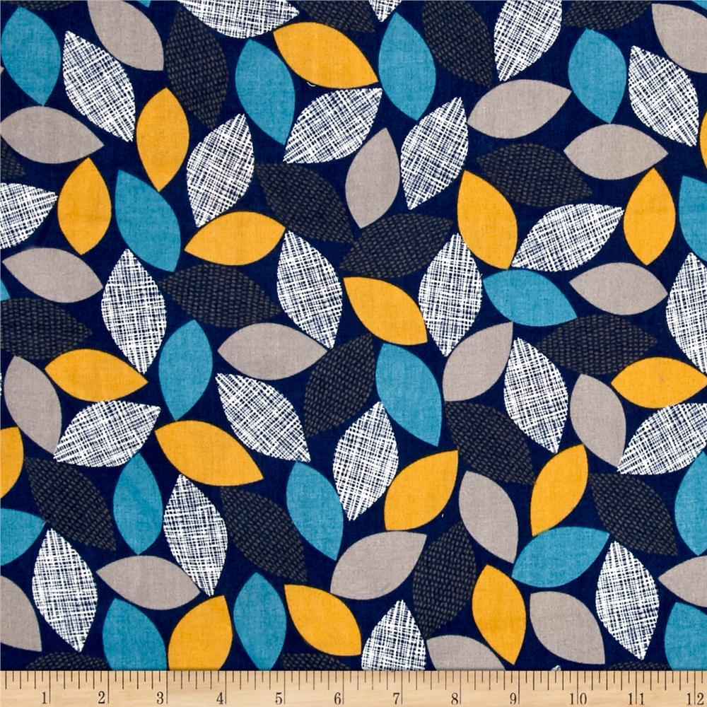 Cloud 9 Organic Double Gauze Threads Woodland Weaves Navy Fabric By The Yard