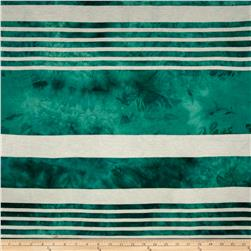 Yarn Dyed Rayon Blend Jersey Knit Stripe White/Emerald