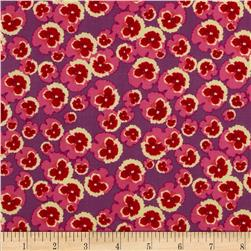 Secret Garden Flower Power Linen Magenta Fabric