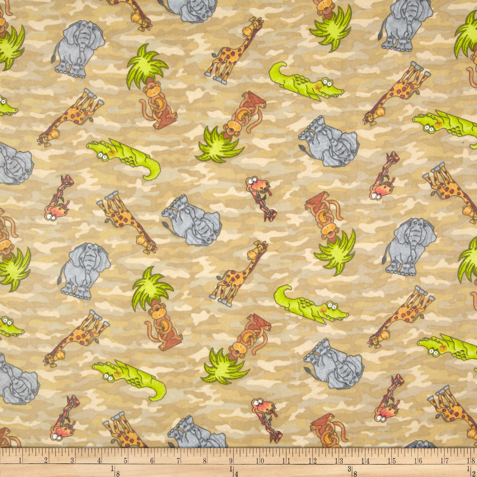 Comfy Flannel Tossed Jungle Animals Camo Beige Fabric by A. E. Nathan in USA