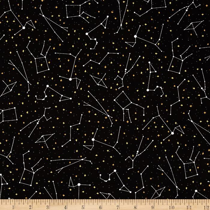 Robert kaufman night sky stars celestial for Celestial pattern fabric