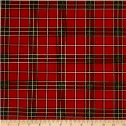 Timeless Treasures Holiday Plaids Metallic Windowpane Plaid Red