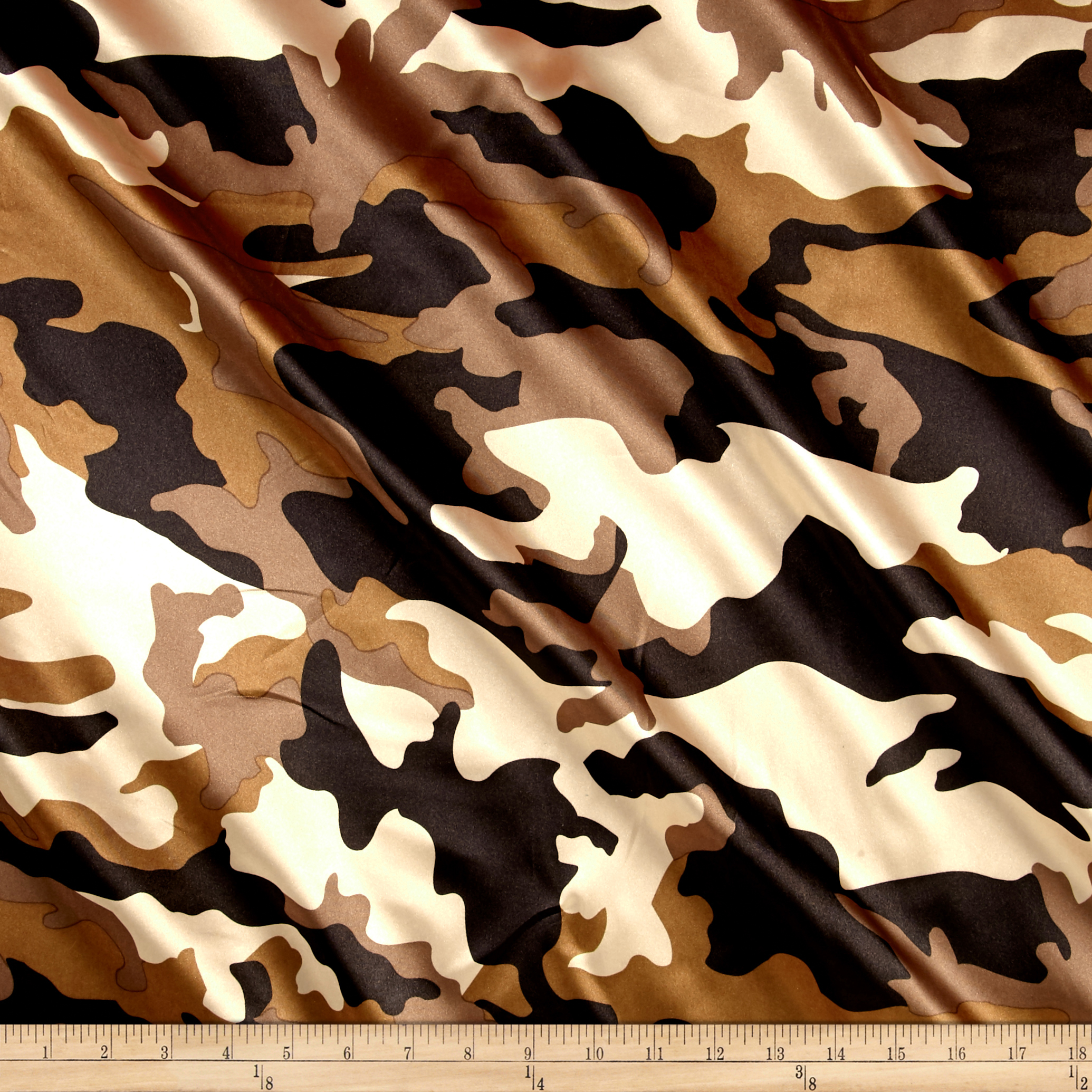 Charmeuse Satin Camo Brown Fabric by Ben in USA