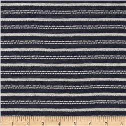 Tissue Yarn Dyed Hatchi Knit Stripes Charcoal/White