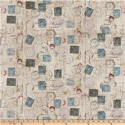 Tim Holtz Eclectic Elements Correspondence Taupe Fabric