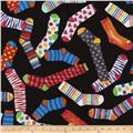Timeless Treasures Sun Showers Socks Black