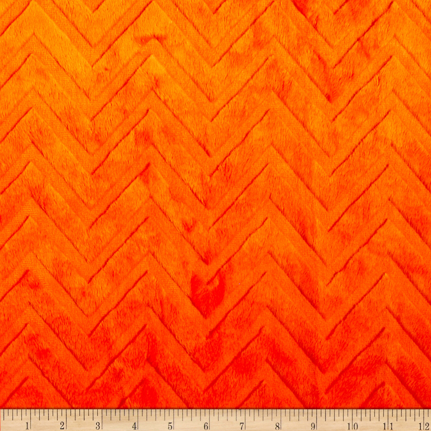 Shannon Minky Cuddle Embossed Chevron Orange Fabric