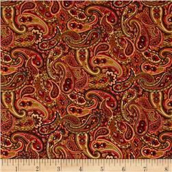 Timeless Treasures Marigold Packed Paisley Spice