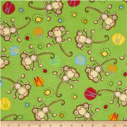 Comfy Flannel Tossed Monkies Green