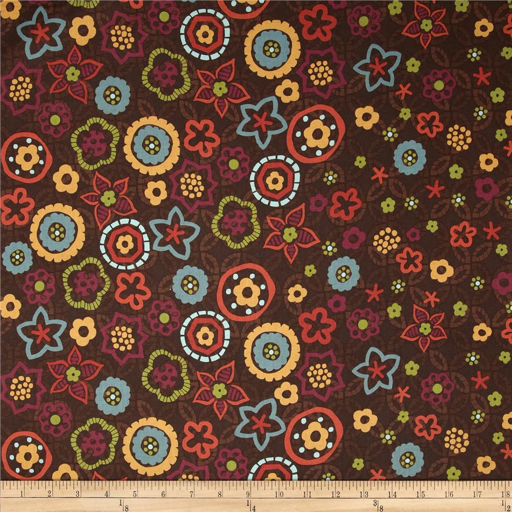 Nomad Floral Double Border Brown