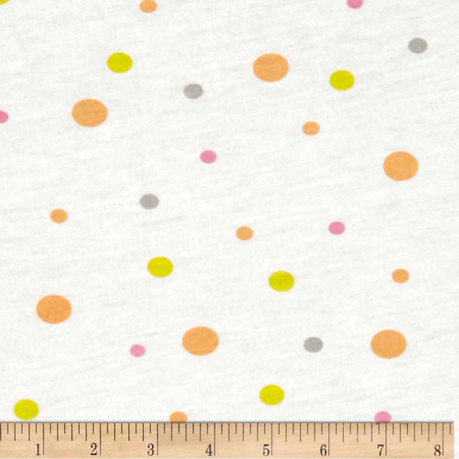 Rayon Blend Tissue Knit Polka Dots White/Multi