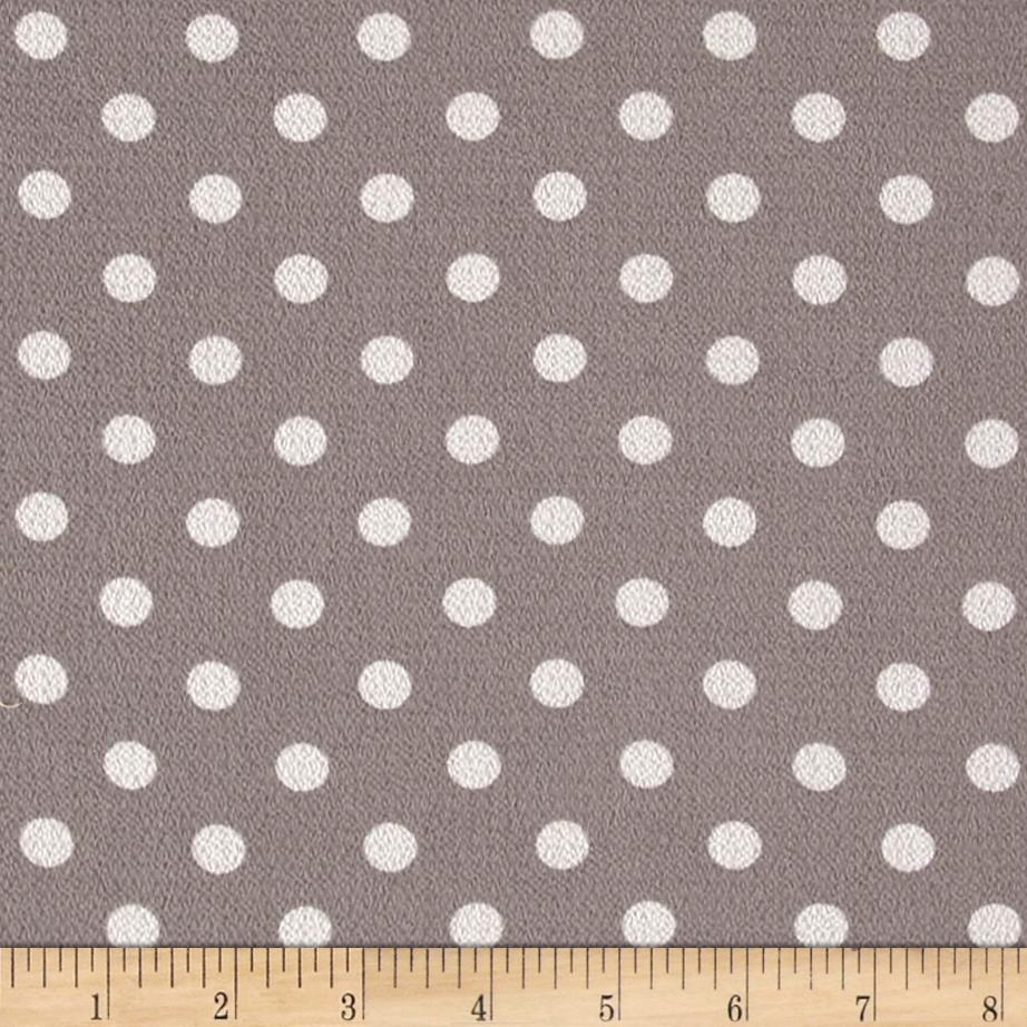 Bubble Crepe Medium Polka Dots Grey/White