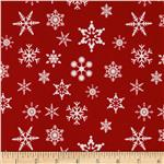 Riley Blake Holiday Banners Snowflakes Red