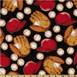 Sports Baseball Black Fabric