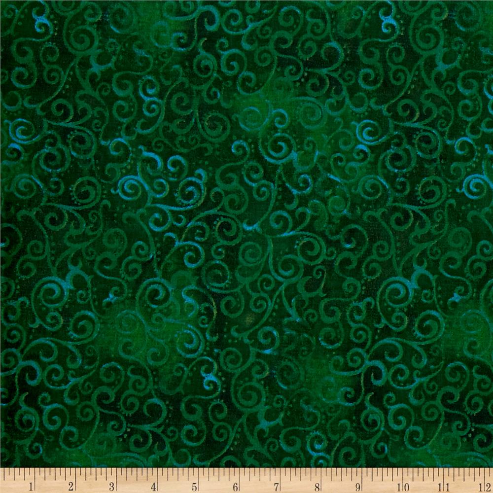 "Quilting Treasures 108"" Wide Quilt Back Ombre Scroll Forest"