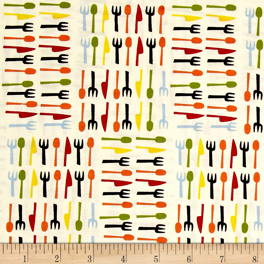Open 24 Hours Silverware Tan Fabric by Exclusively Quilters in USA