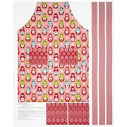 Riley Blake Merry Matryoshka Apron Panel Red