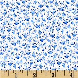 108'' Quilt Backing Floral Blue Fabric