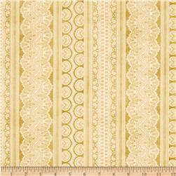 Holiday Magic Lace Ticking Stripe Ivory/Tan Fabric
