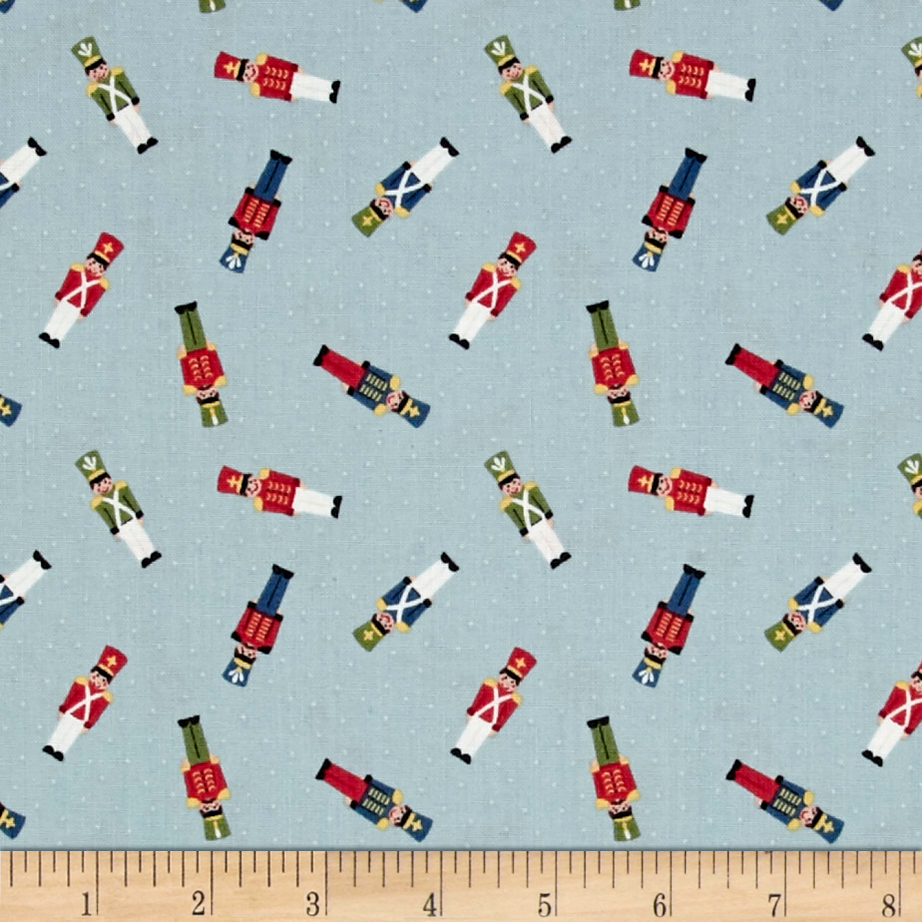 Lewis & Irene Small Things At Christmas Little Soldiers Icy Blue Fabric 0492368