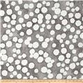"Kaufman Black & White 108"" Wide Big Dots Pewter"